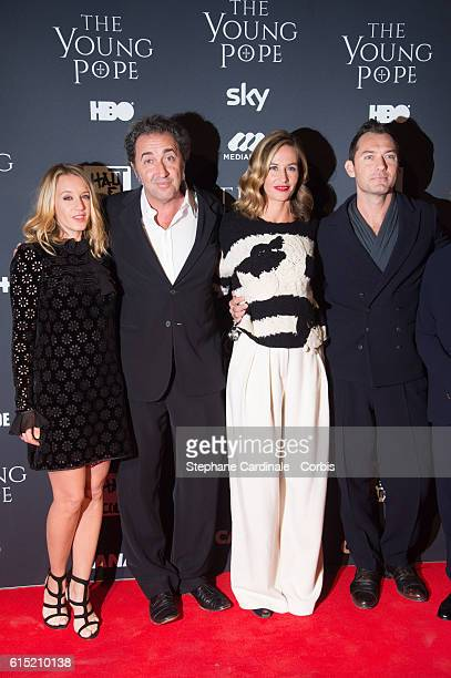 Ludivine Sagnier Paolo Sorrentino Cecile de France and Jude Law attend the 'The Young Pope' Paris Premiere at La Cinematheque on October 17 2016 in...