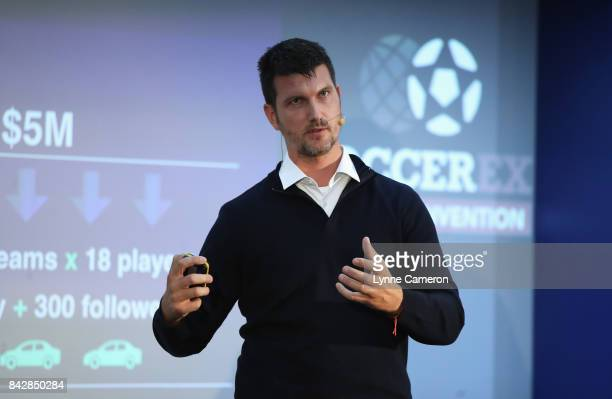 Ludo Cernak SportVideo Managing Partner talks during day 2 of the Soccerex Global Convention at Manchester Central Convention Complex on September 5...