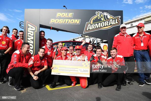 Ludo Lacroix engineering director at Shell VPower Racing Team and Scott McLaughlin driver of the Shell VPower Racing Team Ford Falcon FGX celebrate...