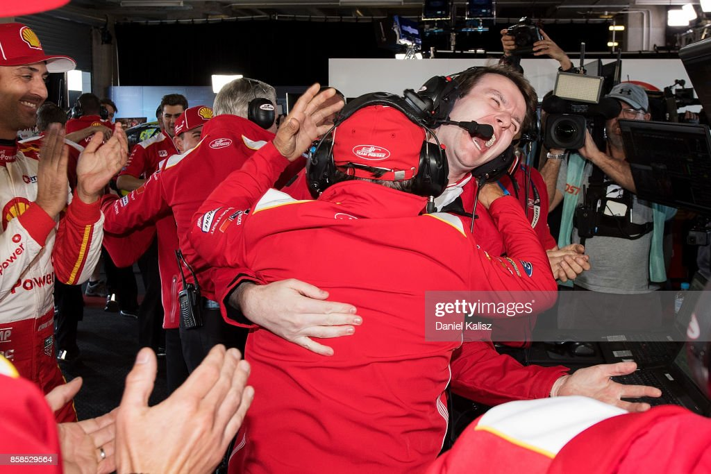 Ludo Lacroix engineering director at Shell V-Power Racing Team celebrates with Ryan Story managing director at Shell V-Power Racing Team during the top ten shootout ahead of this weekend's Bathurst 1000, which is part of the Supercars Championship at Mount Panorama on October 7, 2017 in Bathurst, Australia.