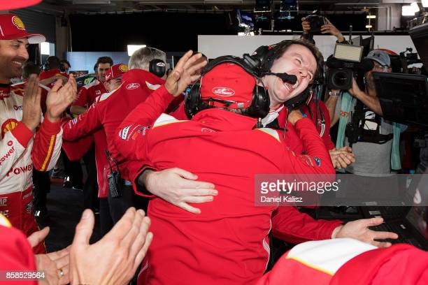 Ludo Lacroix engineering director at Shell VPower Racing Team celebrates with Ryan Story managing director at Shell VPower Racing Team during the top...