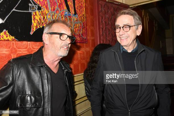Ludo Paris and Alain Chamfort attend Jean Pierre Kalfon ad PIB band Concert at Theatre Dejazet on March 27 2017 in Paris France