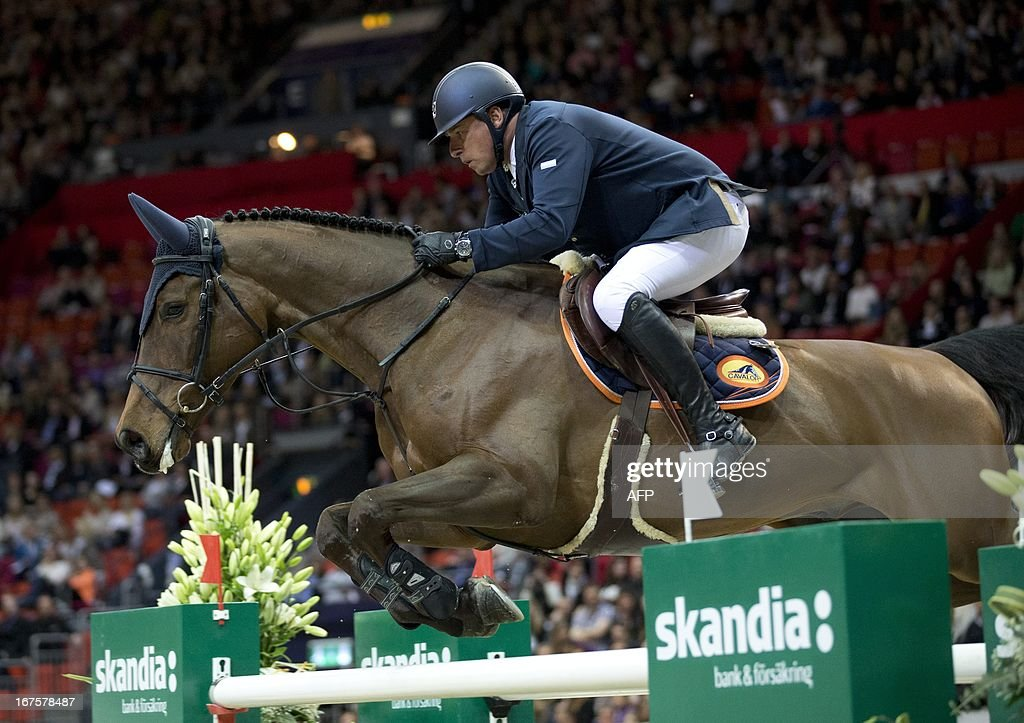 Ludo Philippaerts of Belgium, rides during the Rolex FEI World Cup Jumping final Friday April 26, 2013 during the Gothenburg Horse Show in Scandinavium. AFP PHOTO / ADAM IHSE /SCANPIX SWEDEN/SWEDEN OUT