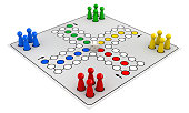 3d render of ludo (Take it Easy) board game isolated on white background