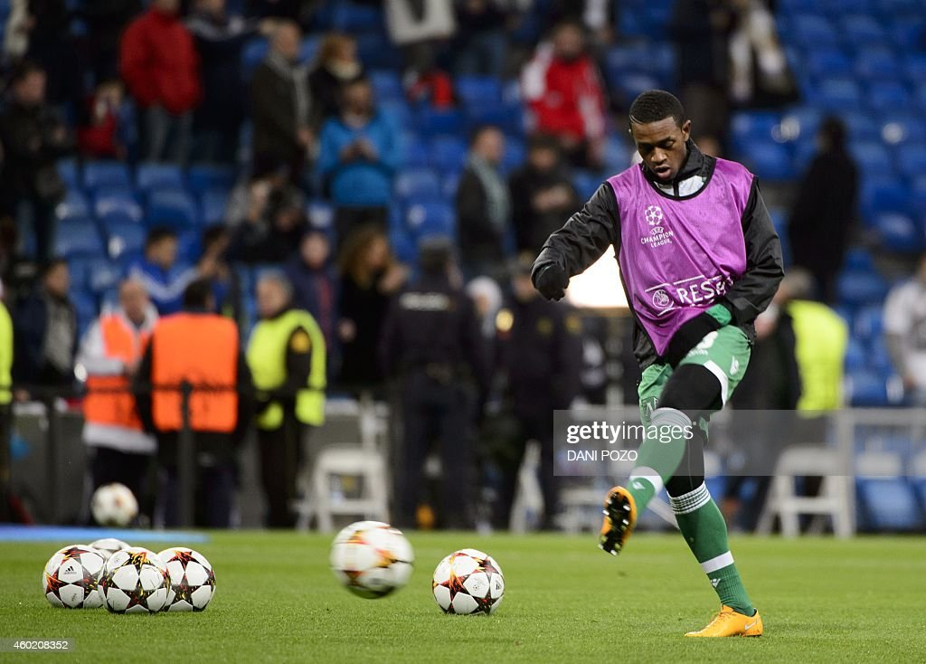 Ludogorets' Dutch forward <a gi-track='captionPersonalityLinkClicked' href=/galleries/search?phrase=Virgil&family=editorial&specificpeople=78328 ng-click='$event.stopPropagation()'>Virgil</a> 'Vura' Misidjan warms up before the UEFA Champions League Group B football match Real Madrid CF vs PFC Ludogorets Razgrad at the Santiago Bernabeu stadium in Madrid on December 9, 2014.