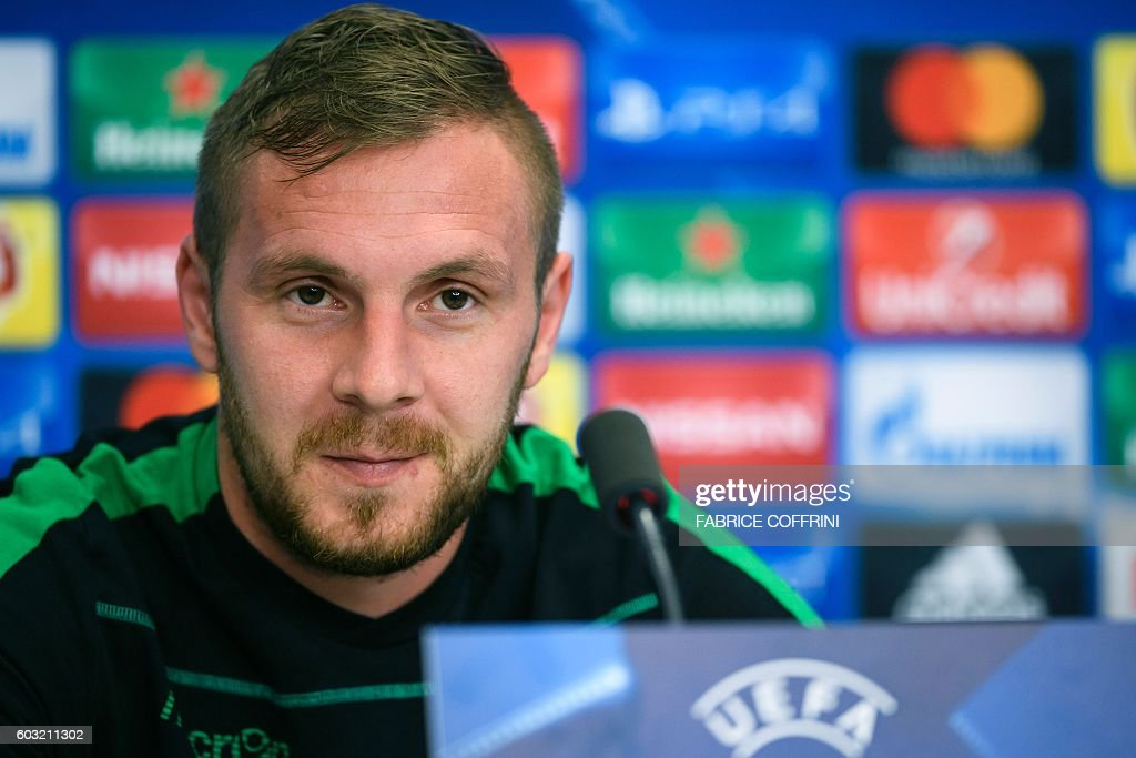Ludogorets's Romanian defender Cosmin Moti attends a press conference in Basel on September 12, 2016, on the eve of the UEFA Champions League group A football match between FC Basel 1893 and PFC Ludogorets Razgrad. / AFP / FABRICE