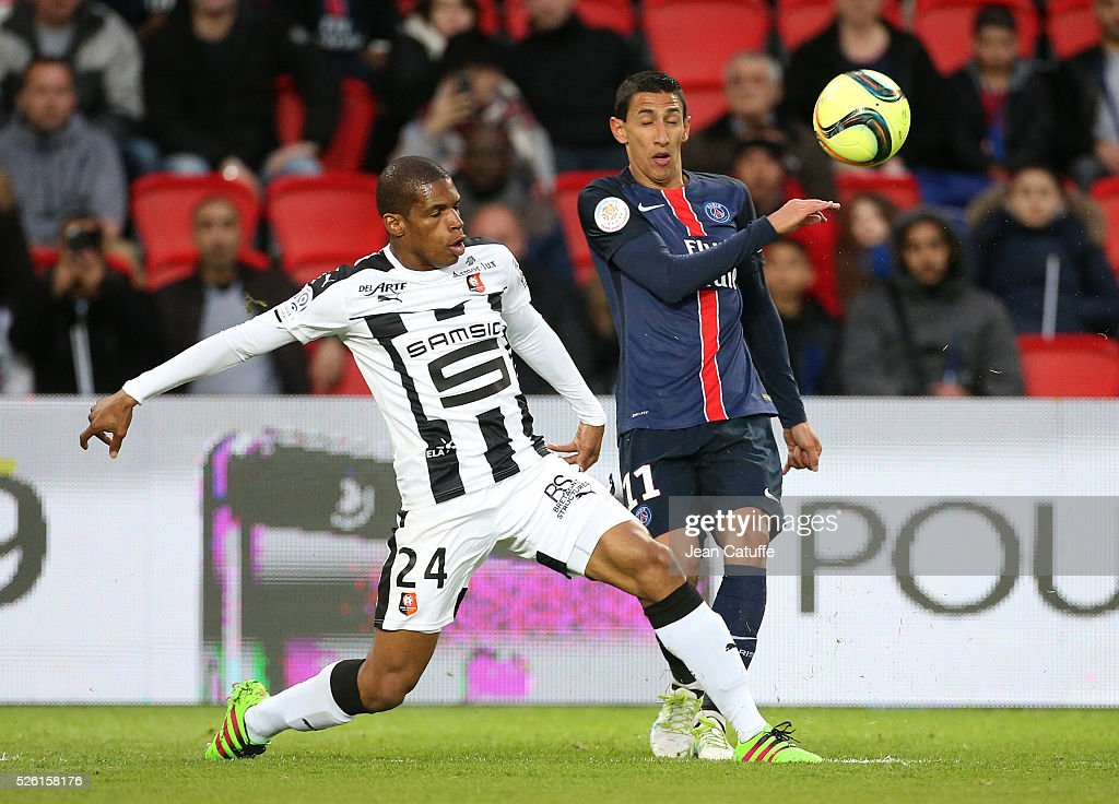 <a gi-track='captionPersonalityLinkClicked' href=/galleries/search?phrase=Ludovic+Baal&family=editorial&specificpeople=4820335 ng-click='$event.stopPropagation()'>Ludovic Baal</a> of Rennes and Angel Di Maria of PSG in action during the French Ligue 1 match between Paris Saint-Germain (PSG) and Stade Rennais FC at Parc des Princes stadium on April 29, 2016 in Paris, France.