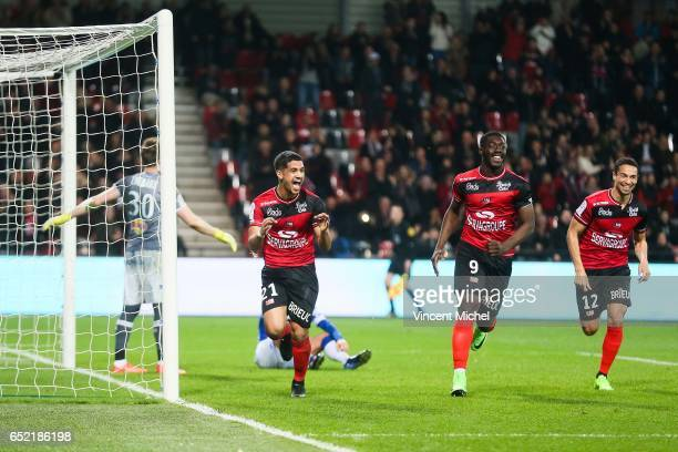 Ludovic Blas of Guingamp celebrates after scoring the fourth goal during the Ligue 1 match between EA Guingamp and SC Bastia at Stade du Roudourou on...