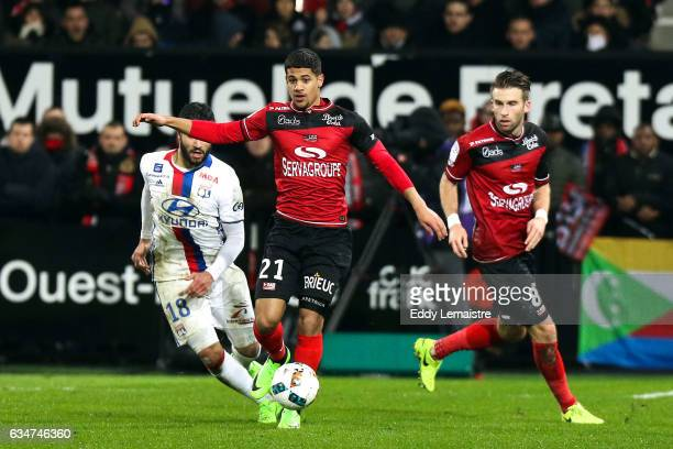 Ludovic Blas of Guingamp during the Ligue 1 match between En Avant Guingamp and Olympique Lyonnais Lyon at Stade du Roudourou on February 11 2017 in...