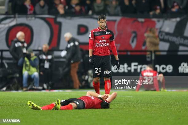 Ludovic Blas of Guingamp looks dejected during the Ligue 1 match between EA Guingamp and SM Caen at Stade du Roudourou on February 4 2017 in Guingamp...