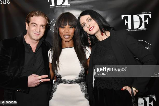 Ludovic Chancel Stephanie Rolland and Sylvie Ortega Munos attend the FDF Magazine Launch Party at Hotel Christian Dior on February 21 2017 in Paris...