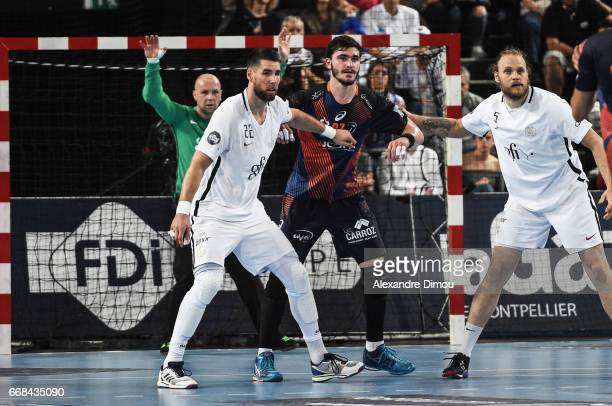 Ludovic Fabregas of Montpellier and Luka Karabatic of Paris during the Starligue Lidl match between Montpellier and Paris Saint Germain PSG on April...