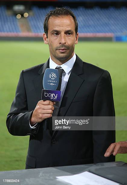 Ludovic Giuly consultant for Bein Sport TV attends the opening french Ligue 1 match between Montpellier Herault SC and Paris SaintGermain FC at the...