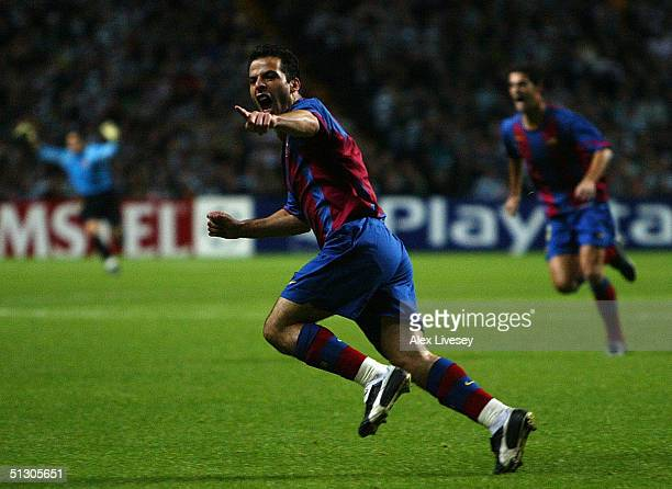 Ludovic Giuly of Barcelona celebrates scoring the second goal during the UEFA Champions League Group F match between Celtic and Barcelona at Celtic...