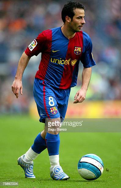 Ludovic Giuly of Barcelona in action during the La Liga match between FC Barcelona and Mallorca on April 15 played at the Camp Nou stadium in...