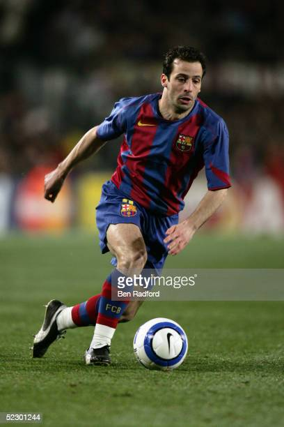 Ludovic Giuly of Barcelona in action during the UEFA Champions League first knockout round first leg match between Chelsea and Barcelona at Nou Camp...