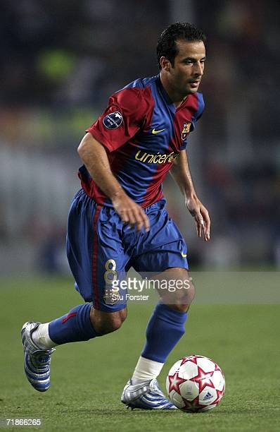 Ludovic Giuly of Barcelona runs with the ball during the UEFA Champions League Group A match between Barcelona and Levski Sofia at The Nou Camp...