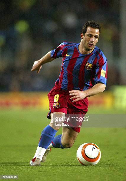 Ludovic Giuly of FC Barcelona is seen in action during the match between FC Barcelona and Deportivo of La Liga on March 4 2006 at the Camp Nou...