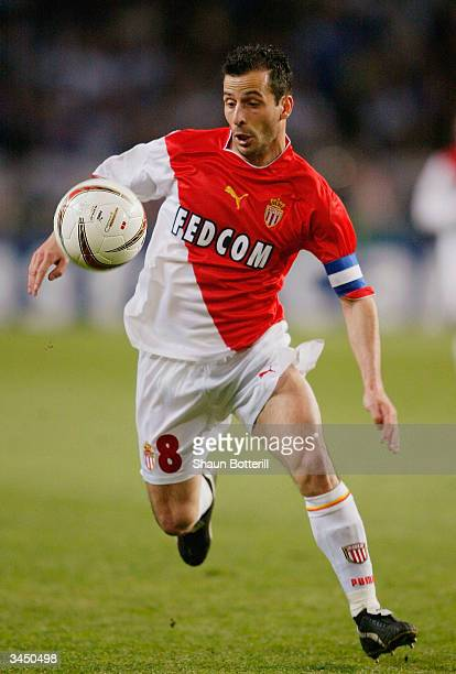 Ludovic Giuly of Monaco in action during the UEFA Champions League Semi Final first leg match between AS Monaco and Chelsea at Louis II Stadium on...