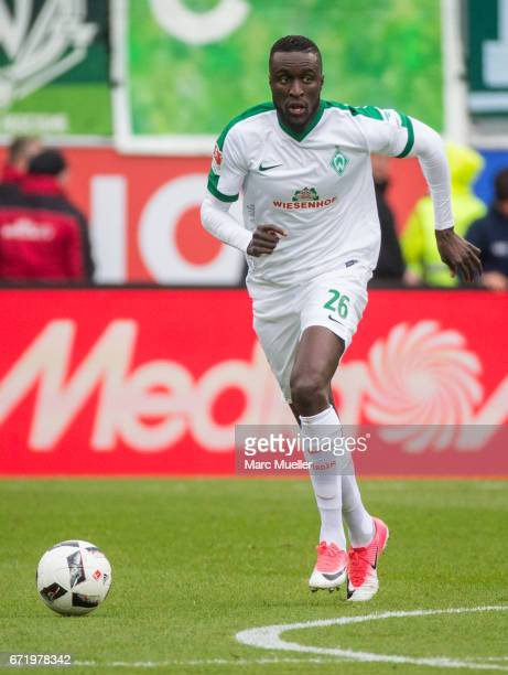 Ludovic Lamine Sane of Werder Bremen with ball during the Bundesliga match between FC Ingolstadt 04 and Werder Bremen at Audi Sportpark on April 22...