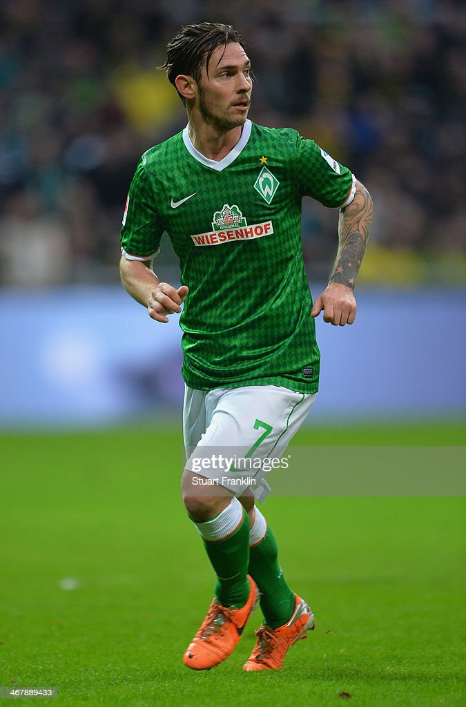 <a gi-track='captionPersonalityLinkClicked' href=/galleries/search?phrase=Ludovic+Obraniak&family=editorial&specificpeople=661174 ng-click='$event.stopPropagation()'>Ludovic Obraniak</a> of Bremen in action during the Bundesliga match between Werder Bremen and Borussia Dortmund at Weserstadion on February 8, 2014 in Bremen, Germany.