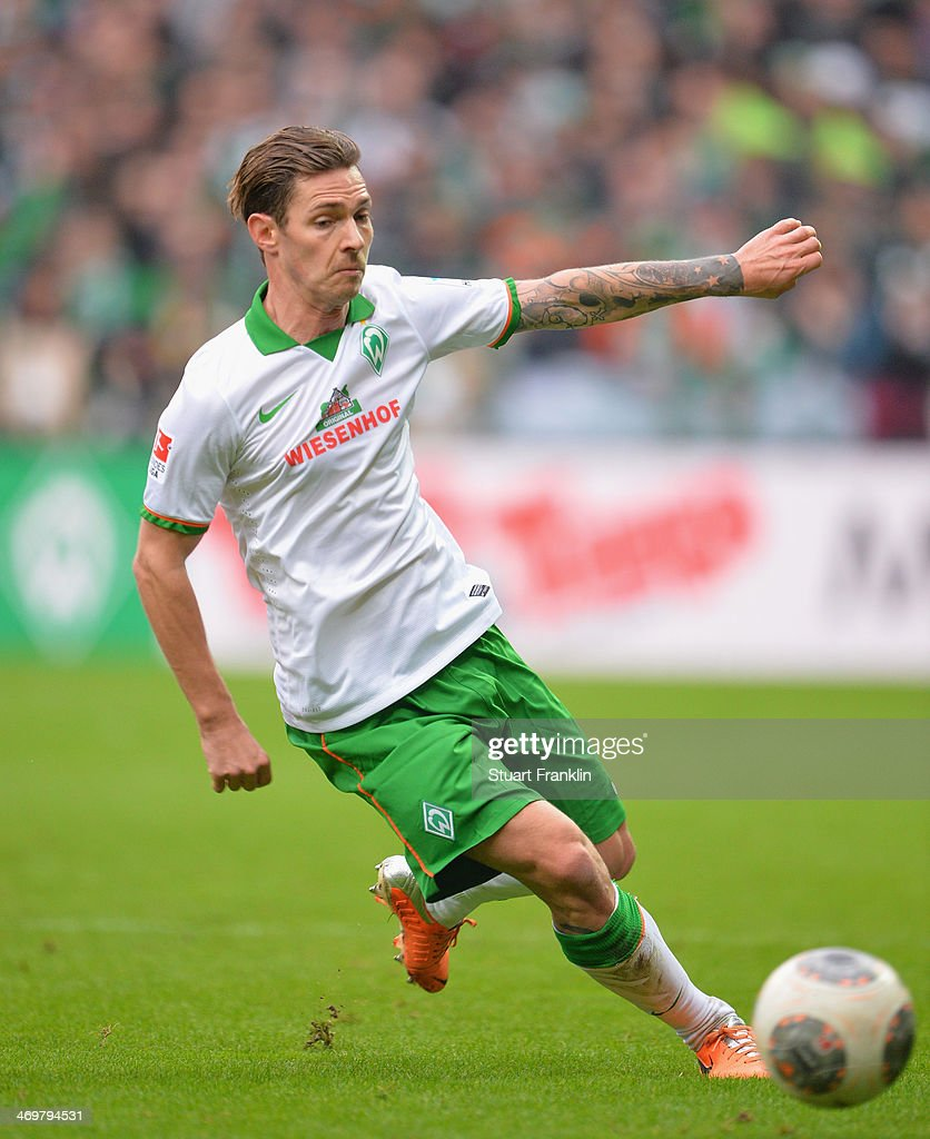<a gi-track='captionPersonalityLinkClicked' href=/galleries/search?phrase=Ludovic+Obraniak&family=editorial&specificpeople=661174 ng-click='$event.stopPropagation()'>Ludovic Obraniak</a> of Bremen in action during the Bundesliga match between Werder Bremen and Borussia Moenchengladbach at Weserstadion on February 15, 2014 in Bremen, Germany.