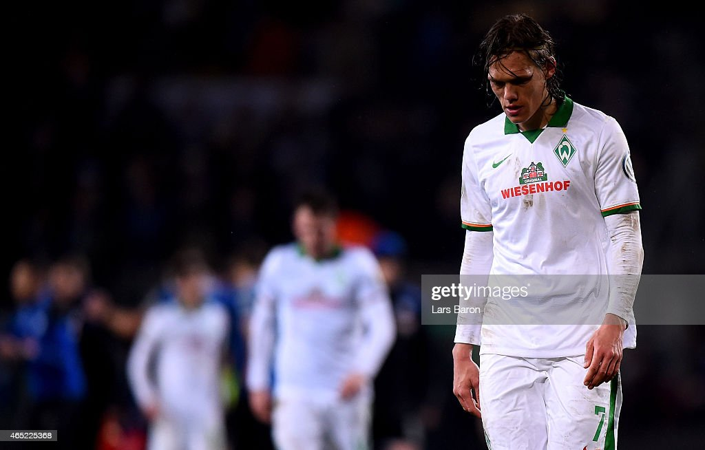 <a gi-track='captionPersonalityLinkClicked' href=/galleries/search?phrase=Ludovic+Obraniak&family=editorial&specificpeople=661174 ng-click='$event.stopPropagation()'>Ludovic Obraniak</a> of Werder Bremen looks dejected after loosing the round of 16 DFB Cup match between Arminia Bielefeld and Werder Bremen on March 4, 2015 in Bielefeld, Germany.