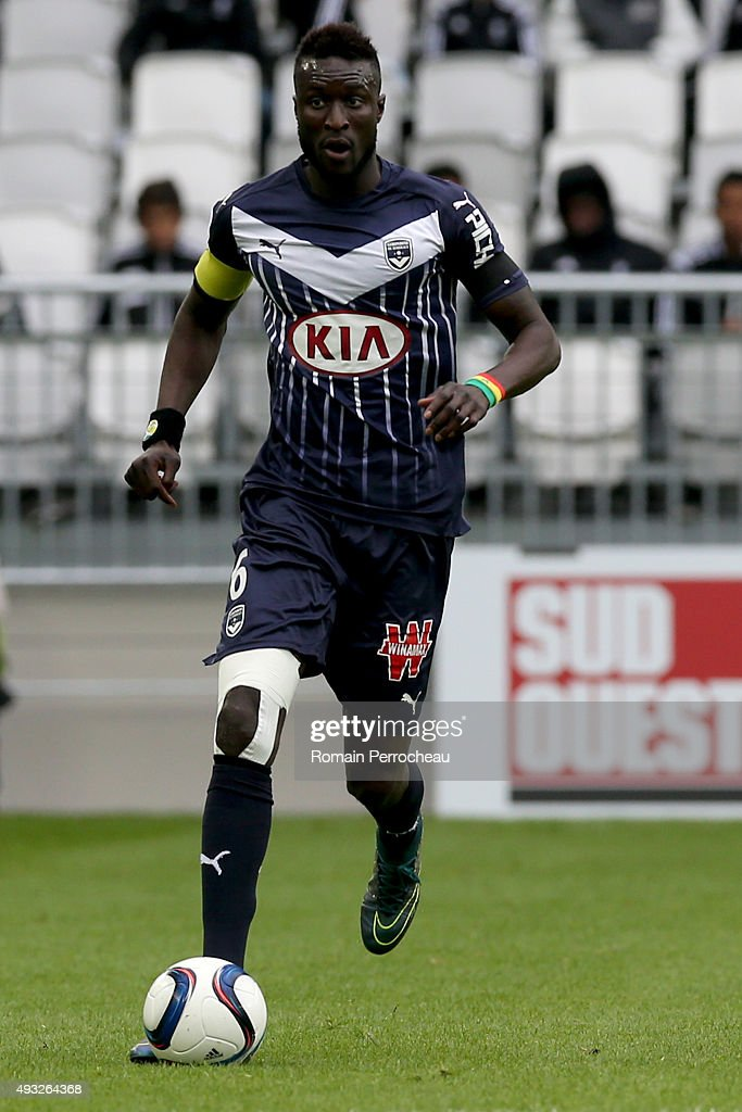 Ludovic Sane for FC Girondins de Bordeaux in action during the French Ligue 1 game between FC Girondins de Bordeaux and Montpellier Herault SC at Stade Matmut Atlantique on October 18, 2015 in Bordeaux, France.