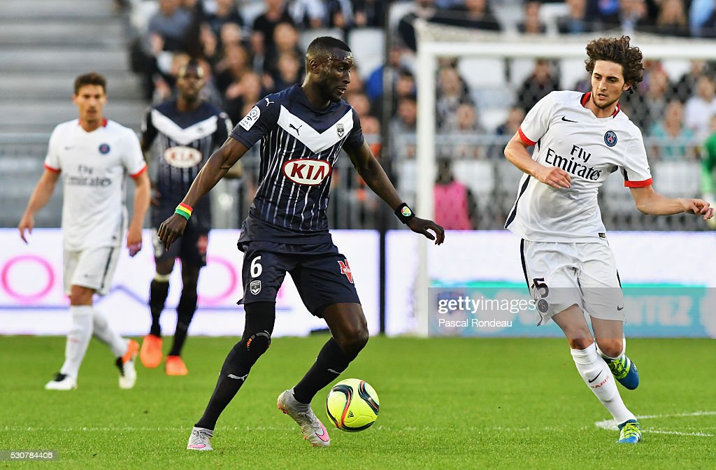 Ludovic Sane from Bordeaux in action during the French League 1 match between FC Girondins de Bordeaux and Paris Saint-Germain at Stade Chaban Delmas on May 11, 2016 in Bordeaux, France.
