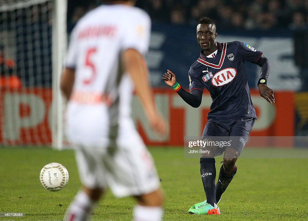 Ludovic Sane of Bordeaux in action during the french League Cup match between FC Girondins de Bordeaux and Paris Saint-Germain FC at the Stade Chaban-Delmas stadium on January 14, 2014 in Bordeaux, France.