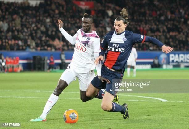Ludovic Sane of Girondins de Bordeaux and Zlatan Ibrahimovic of Paris SaintGermain during the French Ligue 1 between Paris SaintGermain FC and FC...