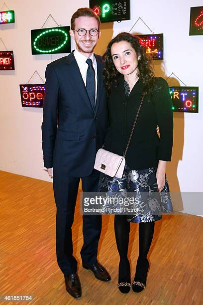 Ludovic Watine Arnault and actress Isabelle Vitari attend the 'Societe des Amis du Musee National d'Art Moderne' Dinner at Beaubourg on January 20...