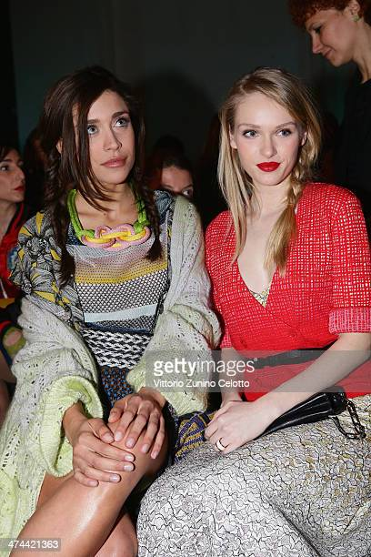 Ludovica Frasca and Caterina Shulha attend the Missoni show as part of Milan Fashion Week Womenswear Autumn/Winter 2014 on February 23 2014 in Milan...
