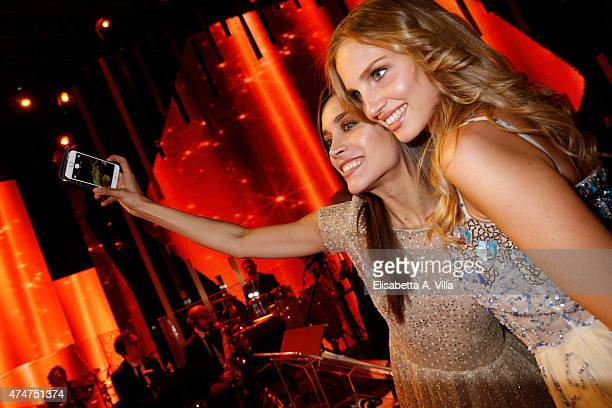 Ludovica Frasca and Ilaria Cioni take a selfie during the PREMIO TV 2015 Awards at RAI Dear Studios on May 25 2015 in Rome Italy
