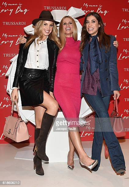 Ludovica Frasca Michelle Hunziker and Irene Ciona attend Trussardi Lovy Bag Presentation on October 27 2016 in Milan Italy