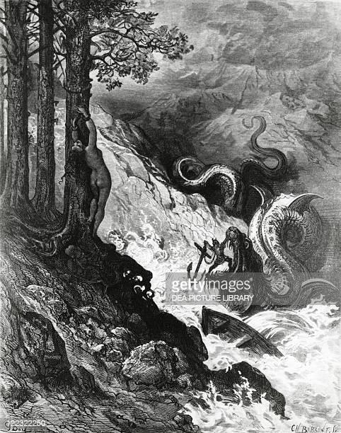 Ludovico Ariosto Orlando furioso 1532 Canto XI stanza 37 Orlando fights against the orc Illustration by Paul Gustave Doré