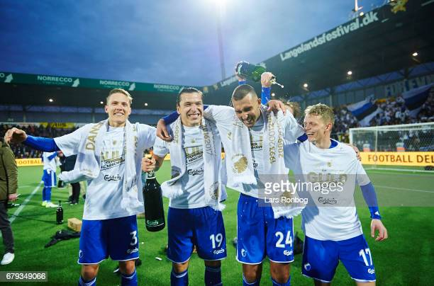Ludvig Augustinsson Federico Santander Youssef Toutouh Peter Ankersen and Kasper Kusk FC Copenhagen celebrate as danish champions after the Danish...