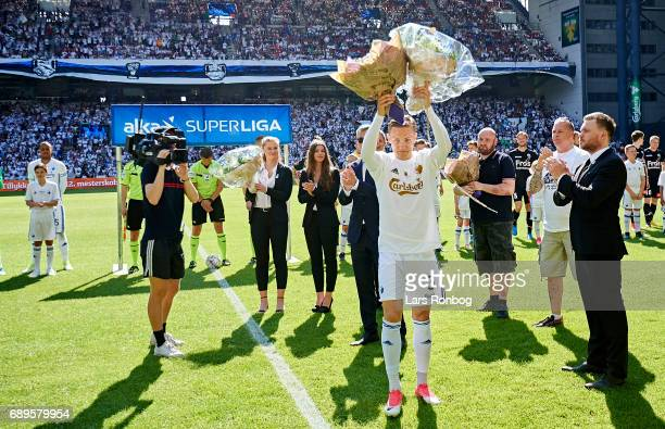 Ludvig Augustinsson of FC Copenhagen receiving flowers before his last match for the club prior to the Danish Alka Superliga match between FC...