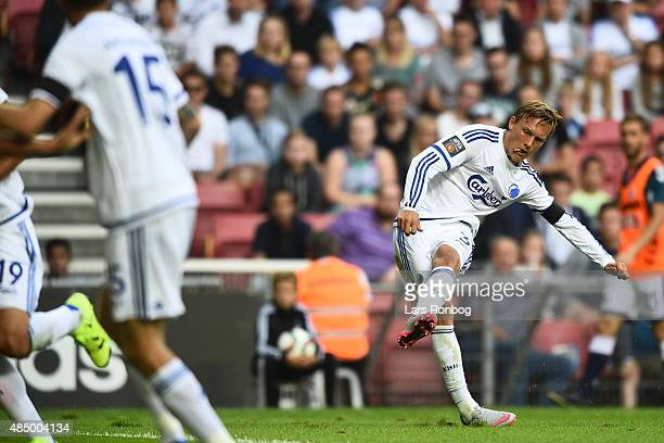 Ludvig Augustinsson of FC Copenhagen scores the 10 goal during the Danish Alka Superliga match between FC Copenhagen and AGF Aarhus at Telia Parken...