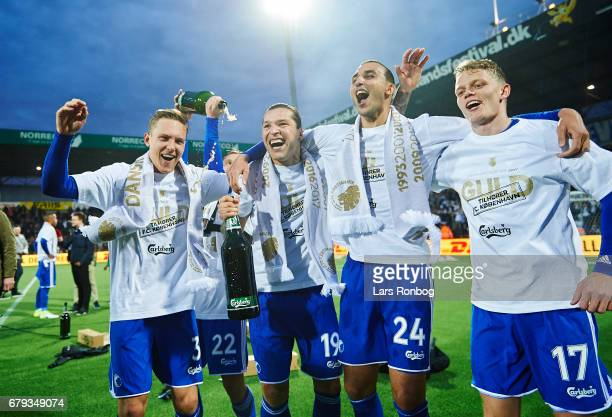Ludvig Augustinsson Peter Ankersen Federico Santander Youssef Toutouh and Kasper Kusk FC Copenhagen celebrate as danish champions after the Danish...