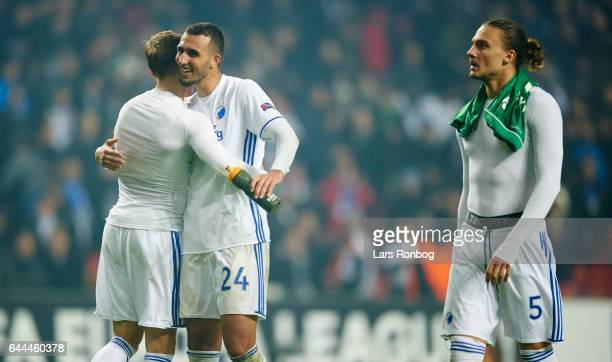 Ludvig Augustinsson Youssef Toutouh and Erik Johansson of FC Copenhagen celebrate after the UEFA Europa League Round of 32 second leg match match...