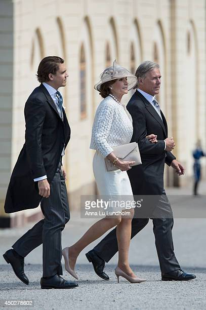 Ludvig Blomqvist Carola Gottlieb and Fredrik Gottlieb attending the Royal Christening for Princess Leonore at Drottningholm Palace Chapel on June 8...