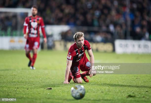 Ludvig Fritzon of Ostersunds FK looks at the ball during the Allsvenskan match between Jonkopings Sodra IF and Ostersunds FK at Stadsparksvallen on...
