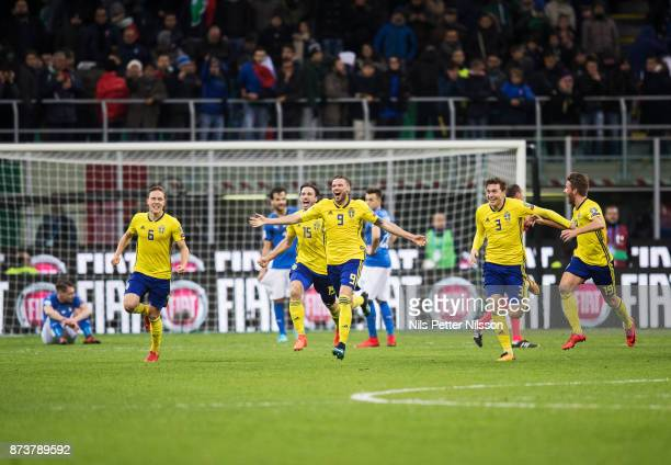 Ludwig Augustinsson Marcus Berg Victor Lindelof and Marcus Rohden of Sweden celebrates after the FIFA 2018 World Cup Qualifier PlayOff Second Leg...