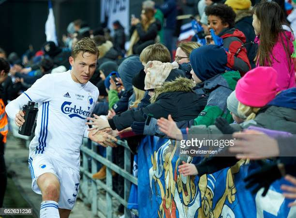 Ludwig Augustinsson of FC Copenhagen and fans after the Danish Alka Superliga match between FC Copenhagen and Esbjerg fB at Telia Parken Stadium on...