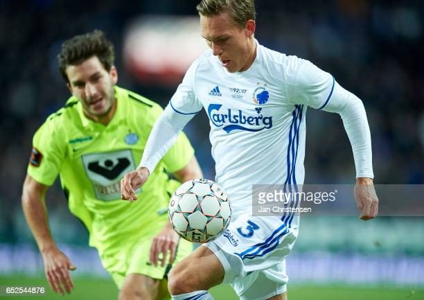 Ludwig Augustinsson of FC Copenhagen compete for the ball during the Danish Alka Superliga match between FC Copenhagen and Esbjerg fB at Telia Parken...