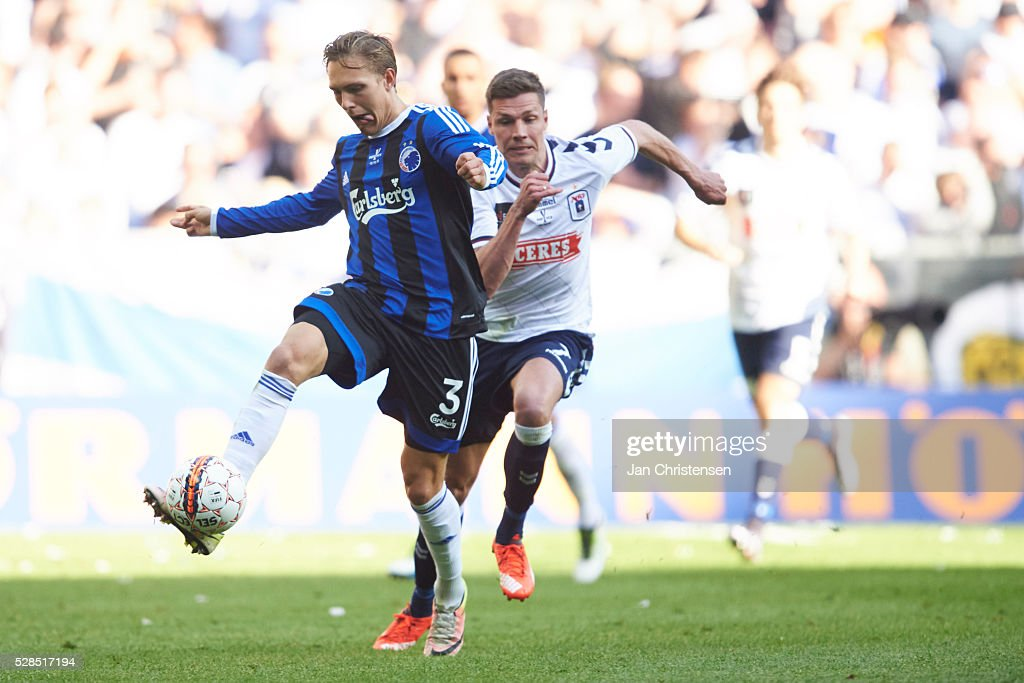 Ludwig Augustinsson of FC Copenhagen controls the ball during the DBU Pokalen Cup Final match between AGF Arhus and FC Copenhagen at Telia Parken Stadium on May 05, 2016 in Copenhagen, Denmark.
