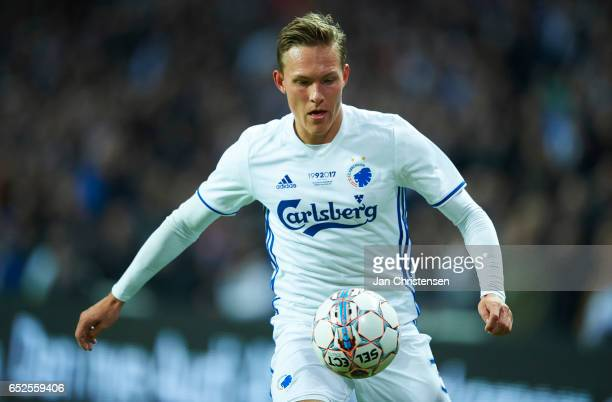 Ludwig Augustinsson of FC Copenhagen controls the ball during the Danish Alka Superliga match between FC Copenhagen and Esbjerg fB at Telia Parken...