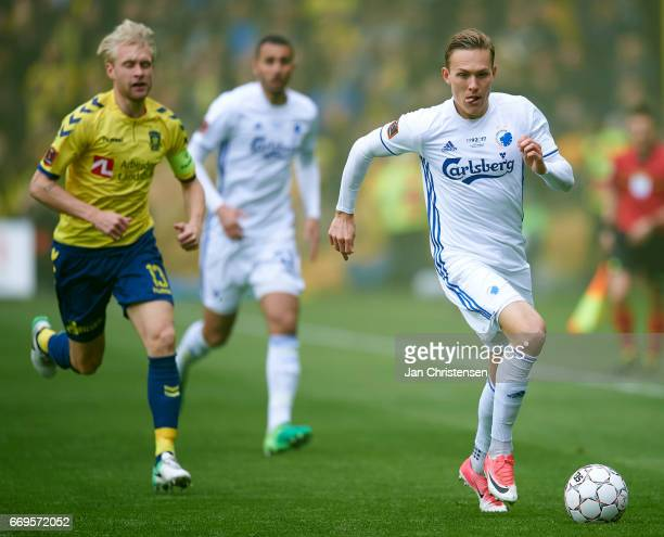 Ludwig Augustinsson of FC Copenhagen in action during the Danish Alka Superliga match between Brondby IF and FC Midtjylland at Brondby Stadion on...