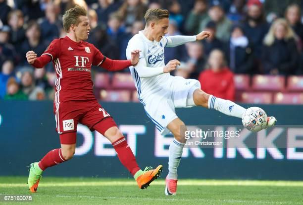 Ludwig Augustinsson of FC Copenhagen in action during the Danish Alka Superliga match between FC Copenhagen and Lyngby BK at Telia Parken Stadium on...
